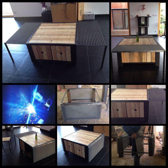 Table basse en palettes Pinterest - meuble en fer design