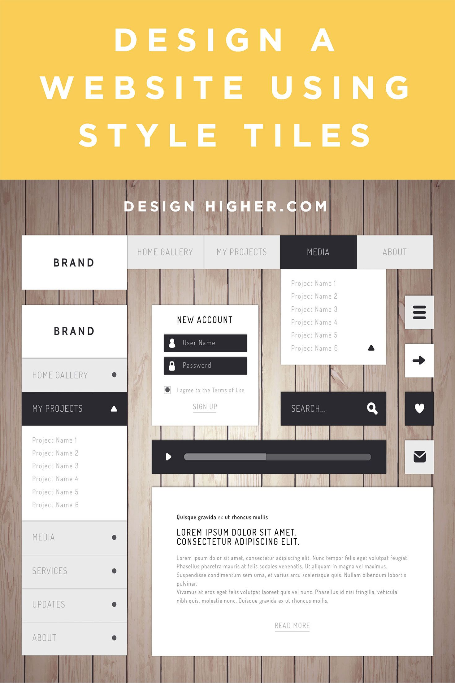 How To Design A Website Using Style Tiles Web Assignment Style Tile Website Design Inspiration Graphic Design Website