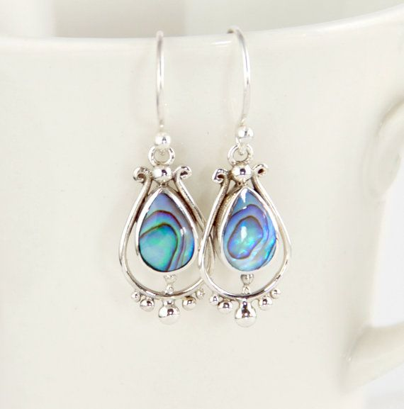 Sterling Silver, Abalone Shell Earrings - Small TearDrop V