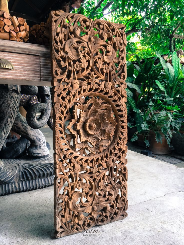 Natural Carved Bed Headboard Panel, Wall Art Sculpture. Thai Teak Wood  Carving. A