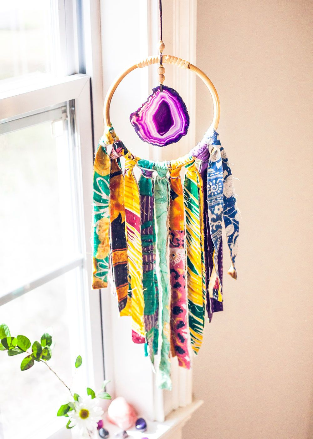 Sugarland wall hanging w agate and kantha by soulmakes - Wall hanging ideas for bedrooms ...
