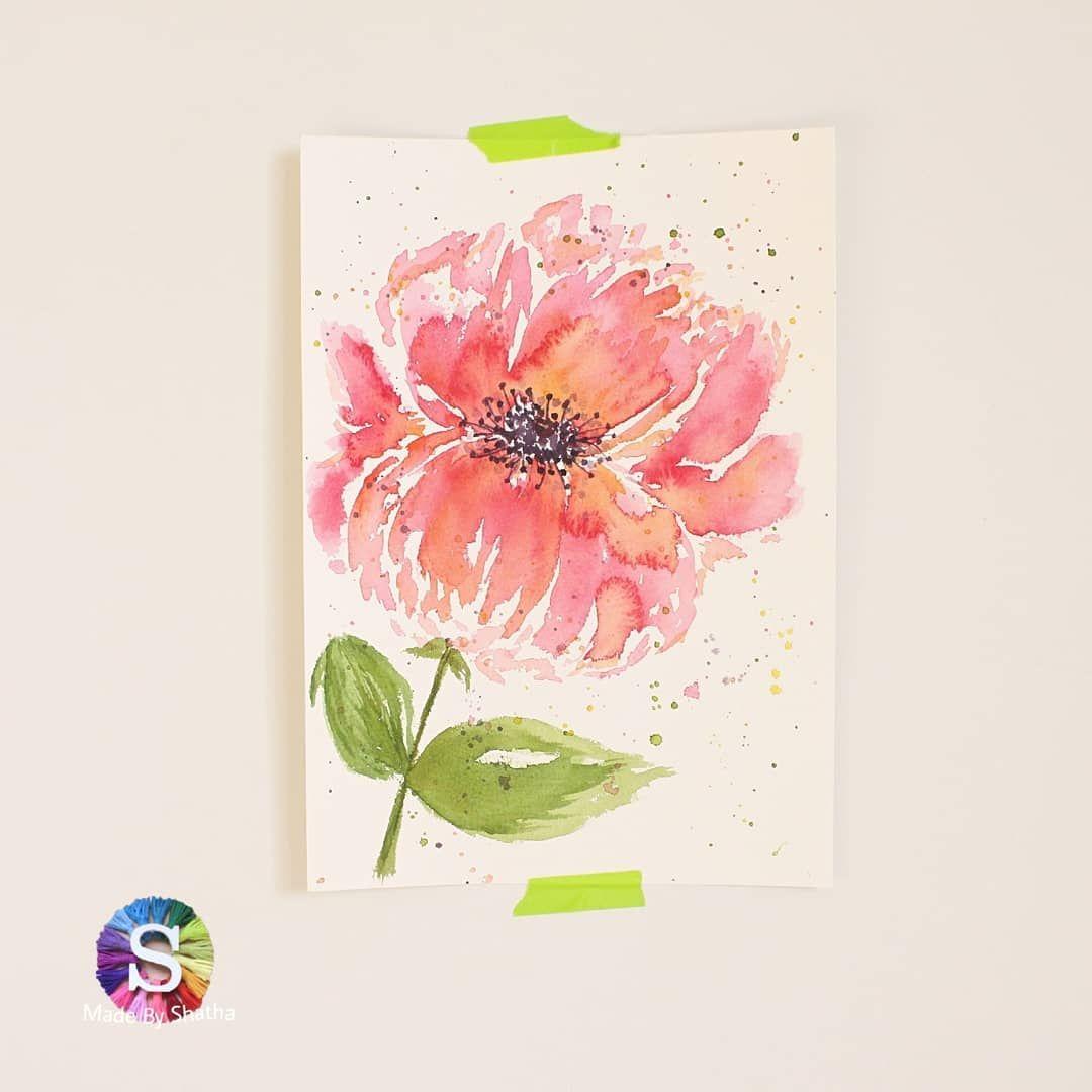 مساء الورد والورود والسعادة وردة البيوني الي استمتعت برسمها معكم بقصتي Peony In Loose Watercolor Watercolor Flowers Diy Crafts Painting