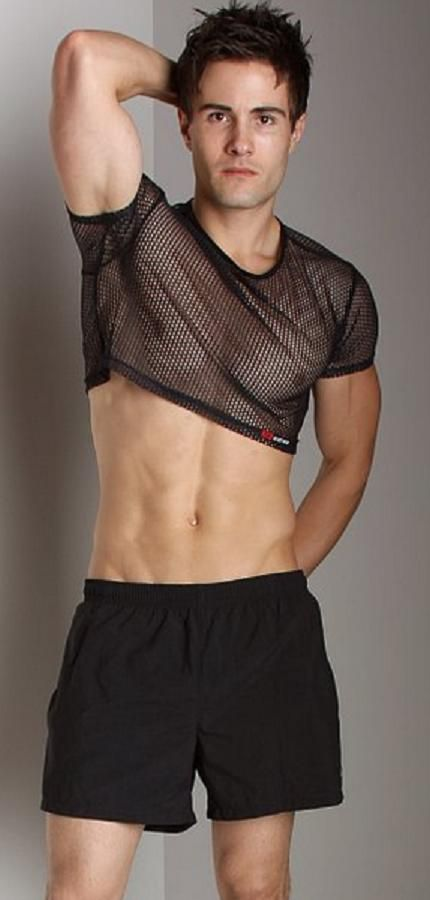 6ab70777d5ed9 Hot guy wearing a retro style mesh crop top Mens Crop Top