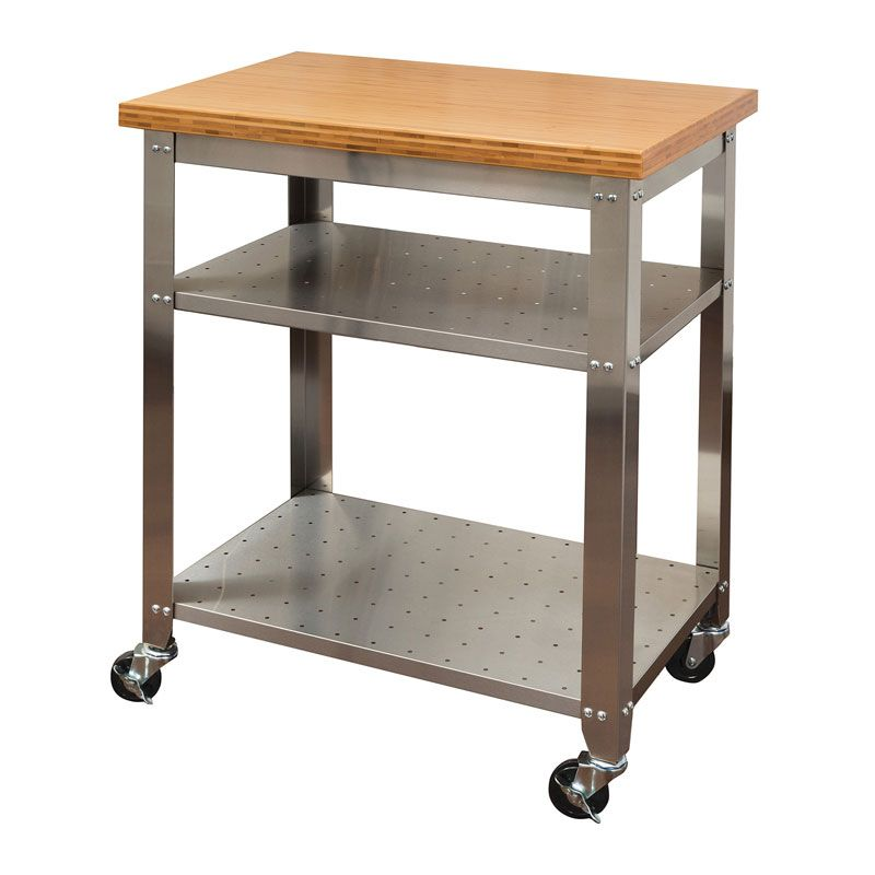 Stainless Steel Kitchen Work Table Cart With Bamboo Top Seville Clics