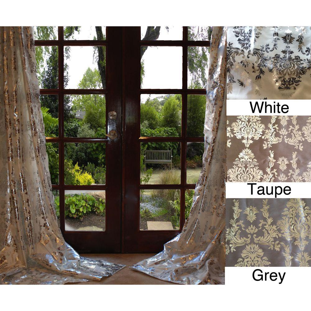 Damask bedroom curtains - Amirah Intricate Damask Metallic Curtain Panel Grey 108 Size 54 X 108 Faux Silk Floral