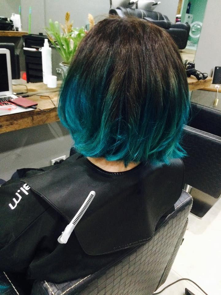 Pin By Flaming Paige On Hair Teal Ombre Hair Dip Dye Hair Teal Hair