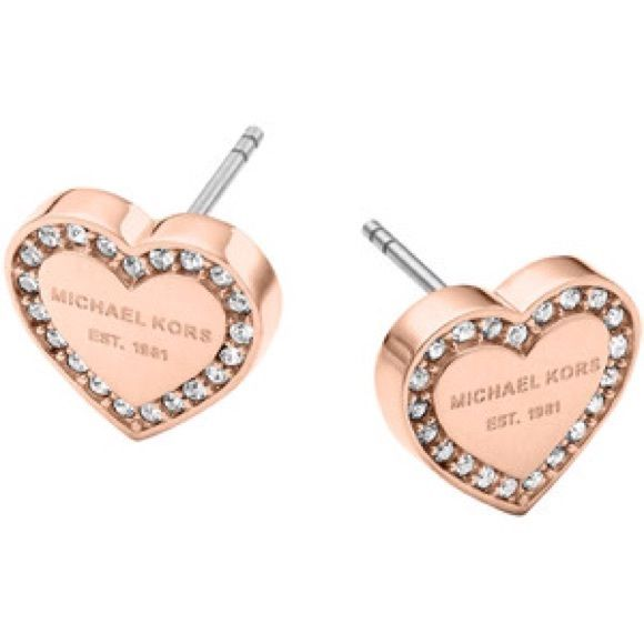 MK Heart shaped rose gold pave stud earrings 16 Lightweight rose