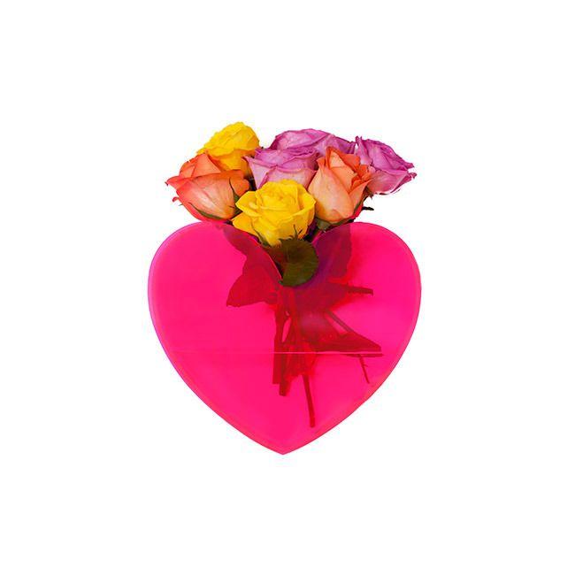 Queen Of Hearts Neon Pink Heart Vase House Digs Pinterest Neon