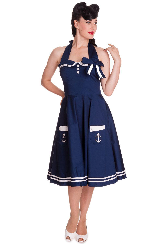 3bd2e802192d0 Hell Bunny 60 s Motley Pinup Sailor Vintage Halter Sailor Swing Dress