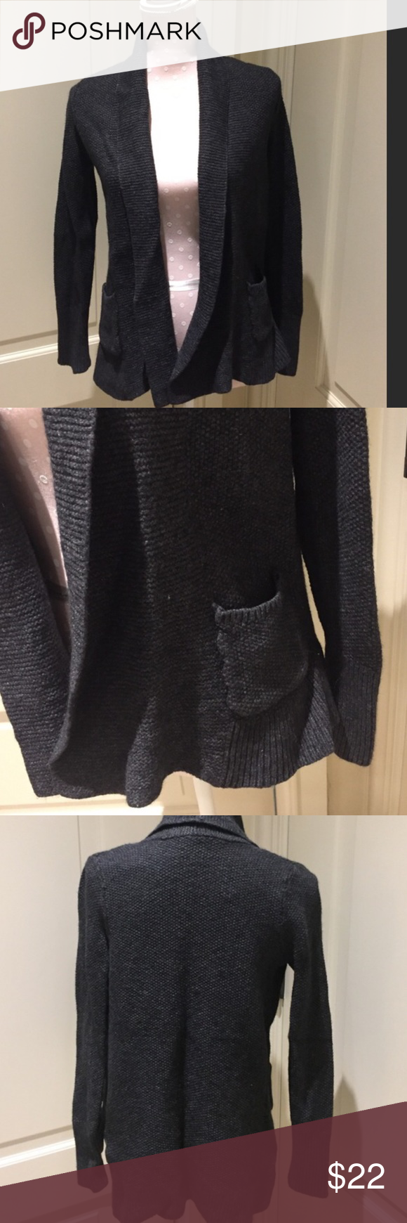 Loft charcoal grey cardigan EUC. Love this cardigan but a reposh as I bought it and the seller did not tell me it fits more like an extra small than small. LOFT Sweaters Cardigans