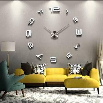 Modern Diy Home Decor 3d large sliver modern diy home decor mirror wall clock sticker