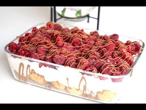 Windbeutel Dessert mit Himbeeren in 5 Minuten - schnelles und einfaches Dessert ohne backen