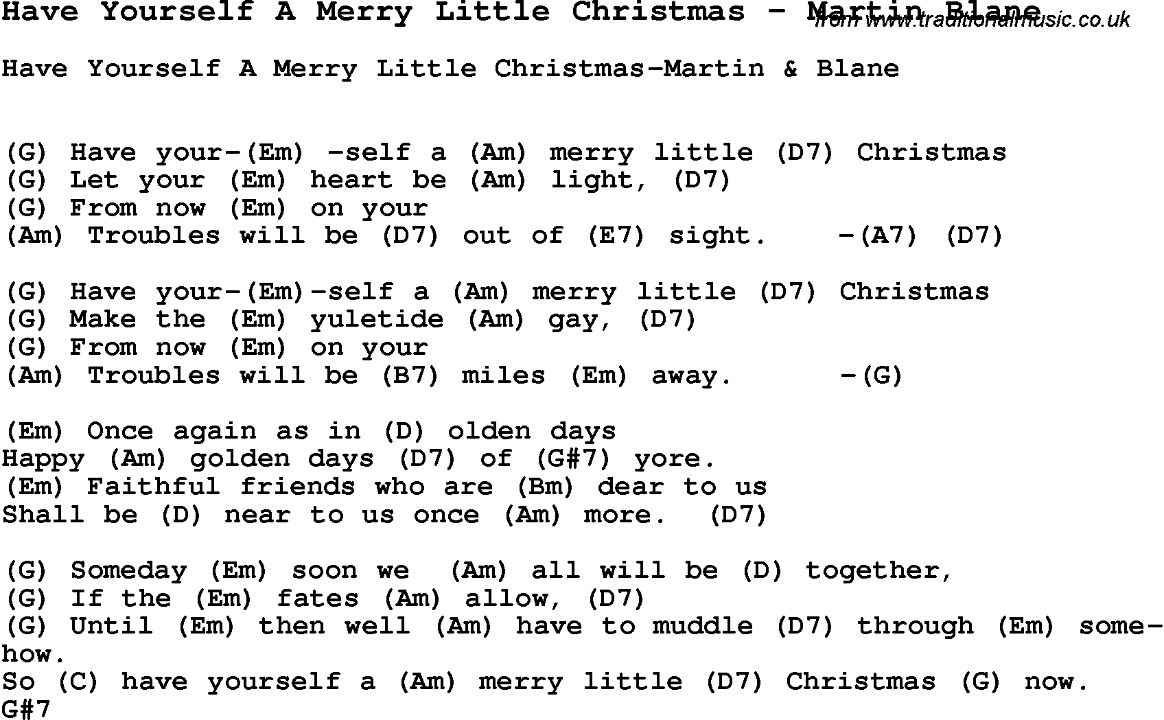 Song Have Yourself A Merry Little Christmas by Martin Blane, with lyrics for vocal performance ...