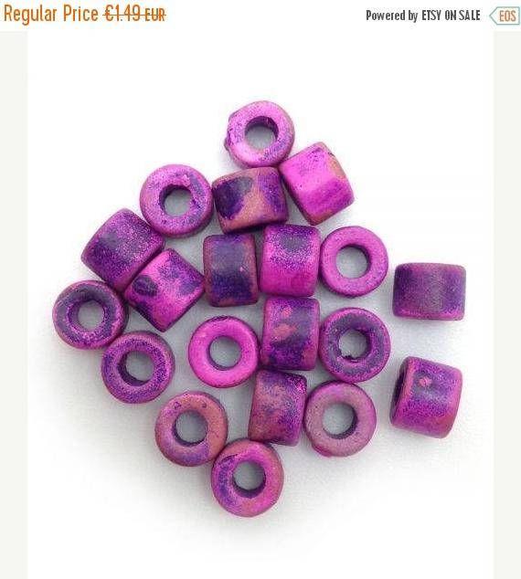 violett Keramikperlen Keramik Zylinder 6mm 100 Stück