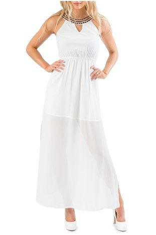 Edgy casual bride - White Necklace Maxi