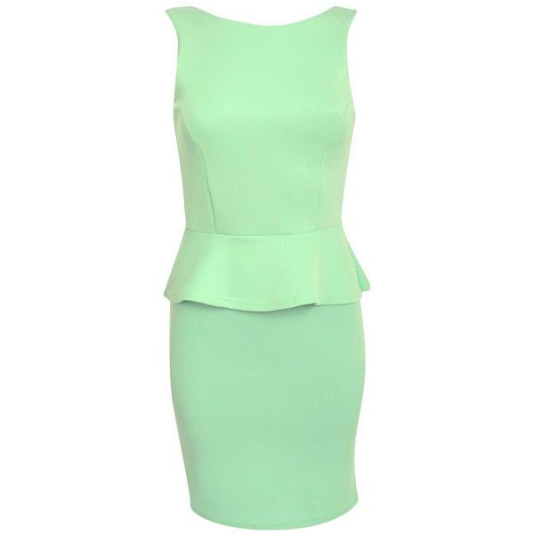 Pilot Sleeveless Peplum Dress ($14) ❤ liked on Polyvore featuring dresses, mint green, body con dress, body conscious dress, mint green bodycon dress, mint peplum dress and green dress