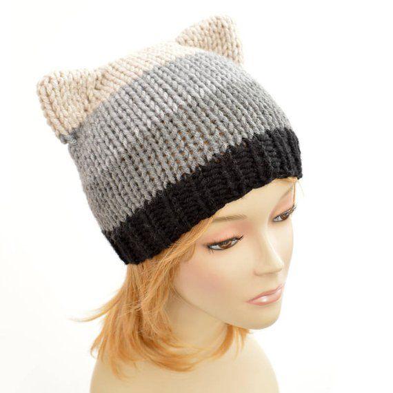 598e60c162e Cat Hat Knitting Pattern    Strip Hat Womens Knit Hat Pattern PDF Cat Hat  Pattern
