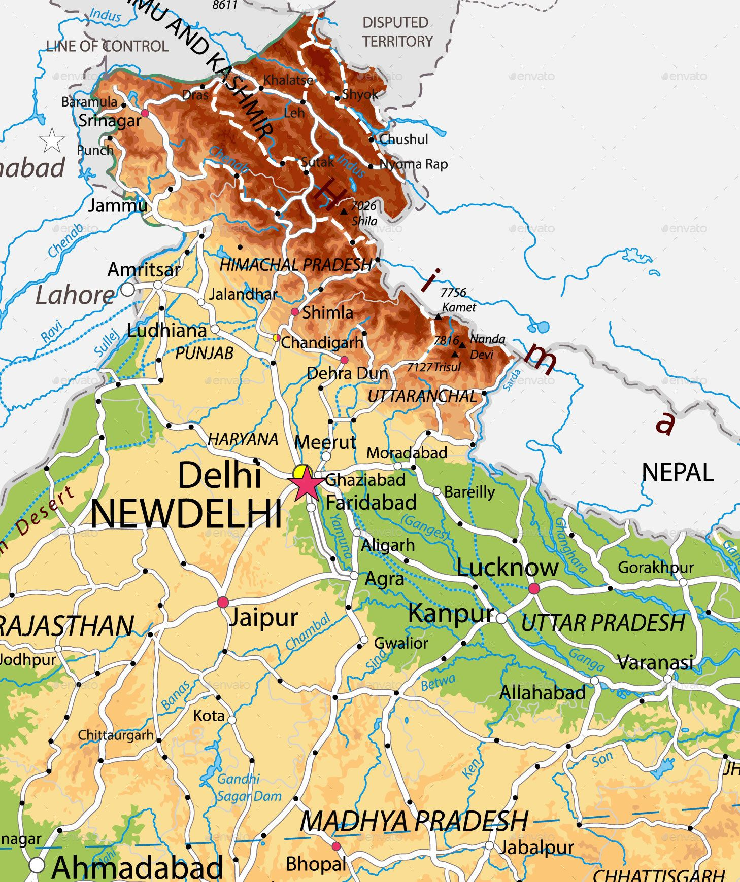 India Physical Map #Ad #India, #affiliate, #Physical, #Map