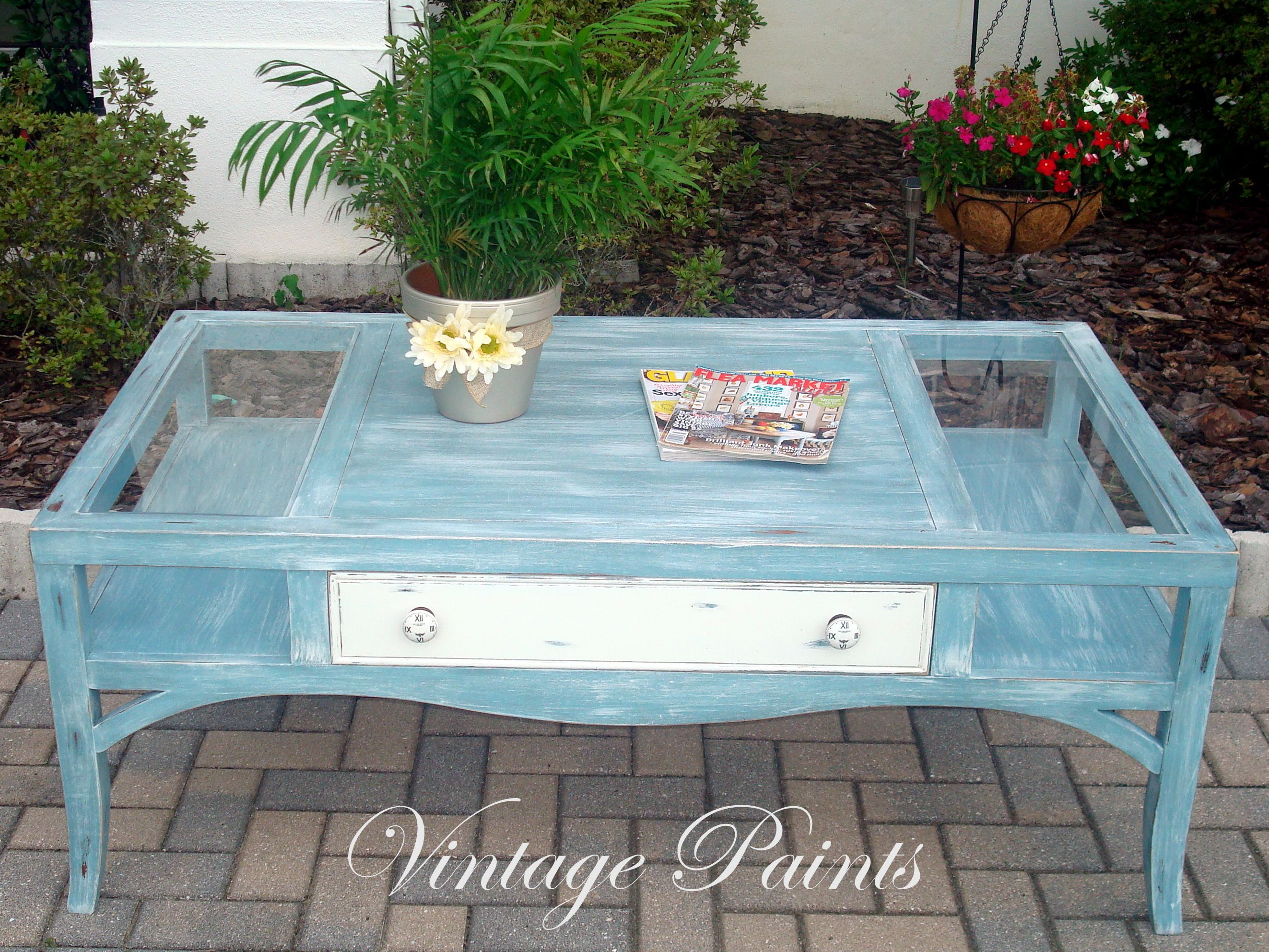 Voyage Blue Whitewashed Painted Distressed Old coffee table is