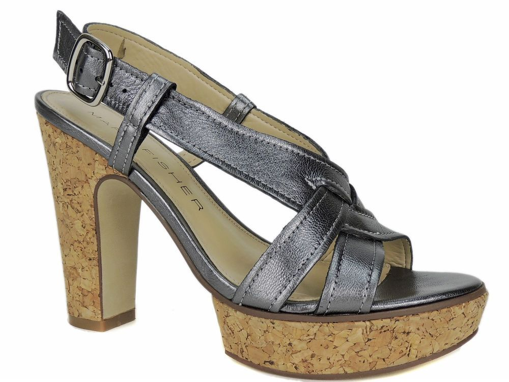 cfb33c8f9f3 Marc Fisher Women s Nico Sandals Pewter Leather Size 6.5 M  MarcFisher   PlatformsWedges  Dress