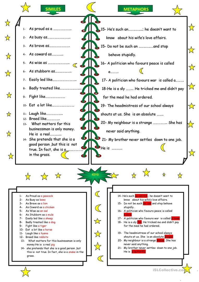Animals In Similes And Metaphors Similes And Metaphors Simile Worksheet Simile