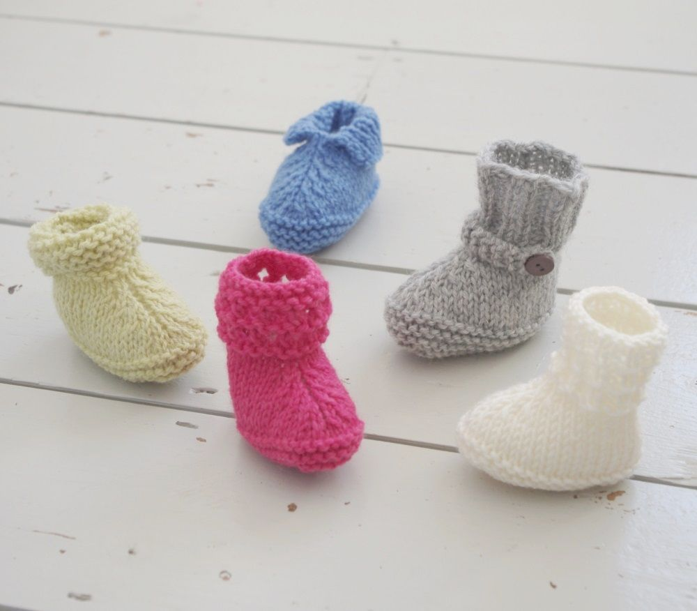 Cute knitted baby booties available in five different styles and ...