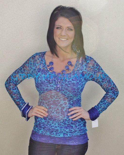 Blue Cheetah Print Lace  $14.95  Small, Medium, Large  http://www.giddyupglamouronline.com/catalog.php?item=6427