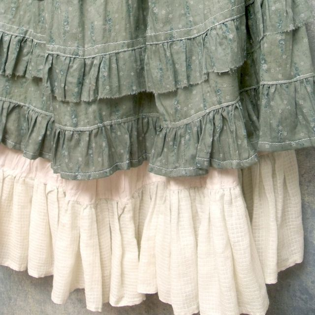 Ruffled Layered Skirt Prairie Grunge Style Reconstruced Vintage Cotton Floral Print