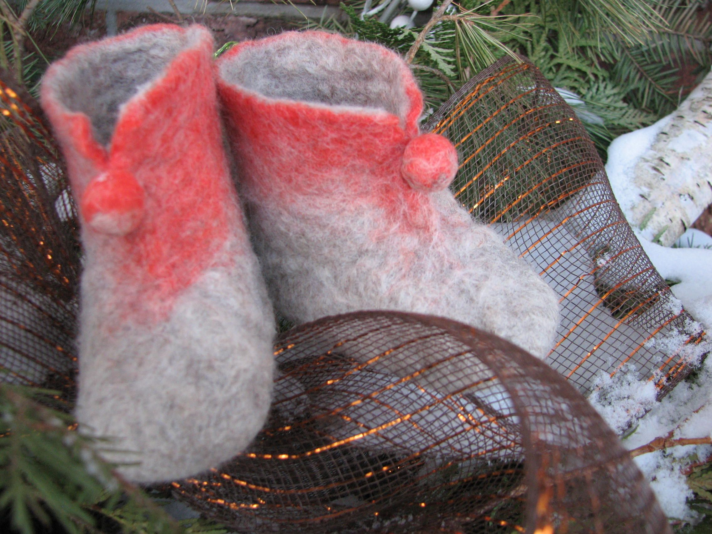 Bluefaced Leicester Mixed  & Orange Merino wool booties (3 - 6 month).