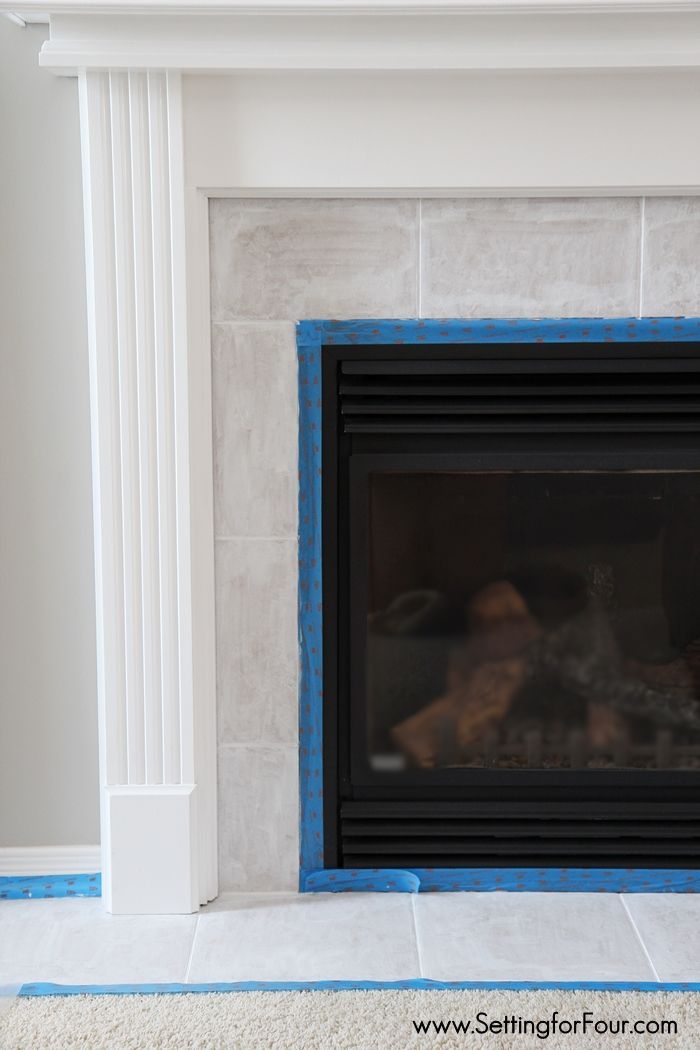 How To Paint Tile Easy Fireplace Paint Makeover Tile Around