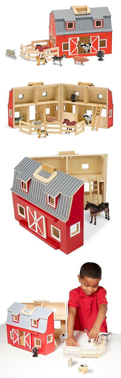 Wooden And Handcrafted Toys 1197 Melissa Doug Fold Go Barn With 7 Animal