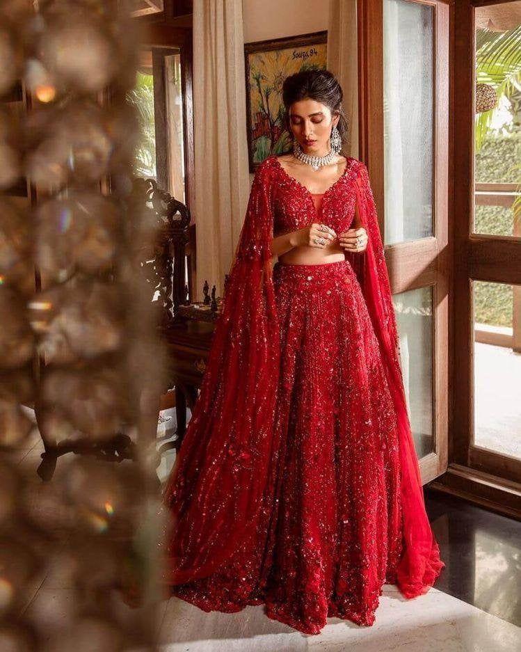 Designer Red lehenga choli for women party wear Bo
