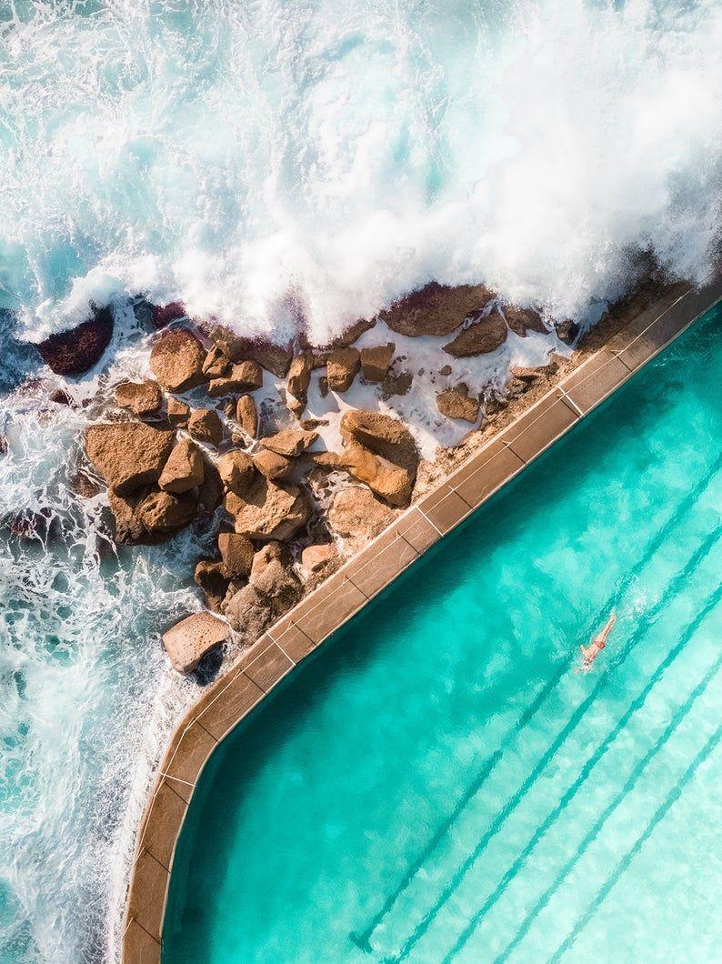 Bronte Beach Rock Pool Print Australia Surf Print Aerial Ocean Photo Coastal Wall Art In 2020 Rock Pools Beach Rocks Surfing