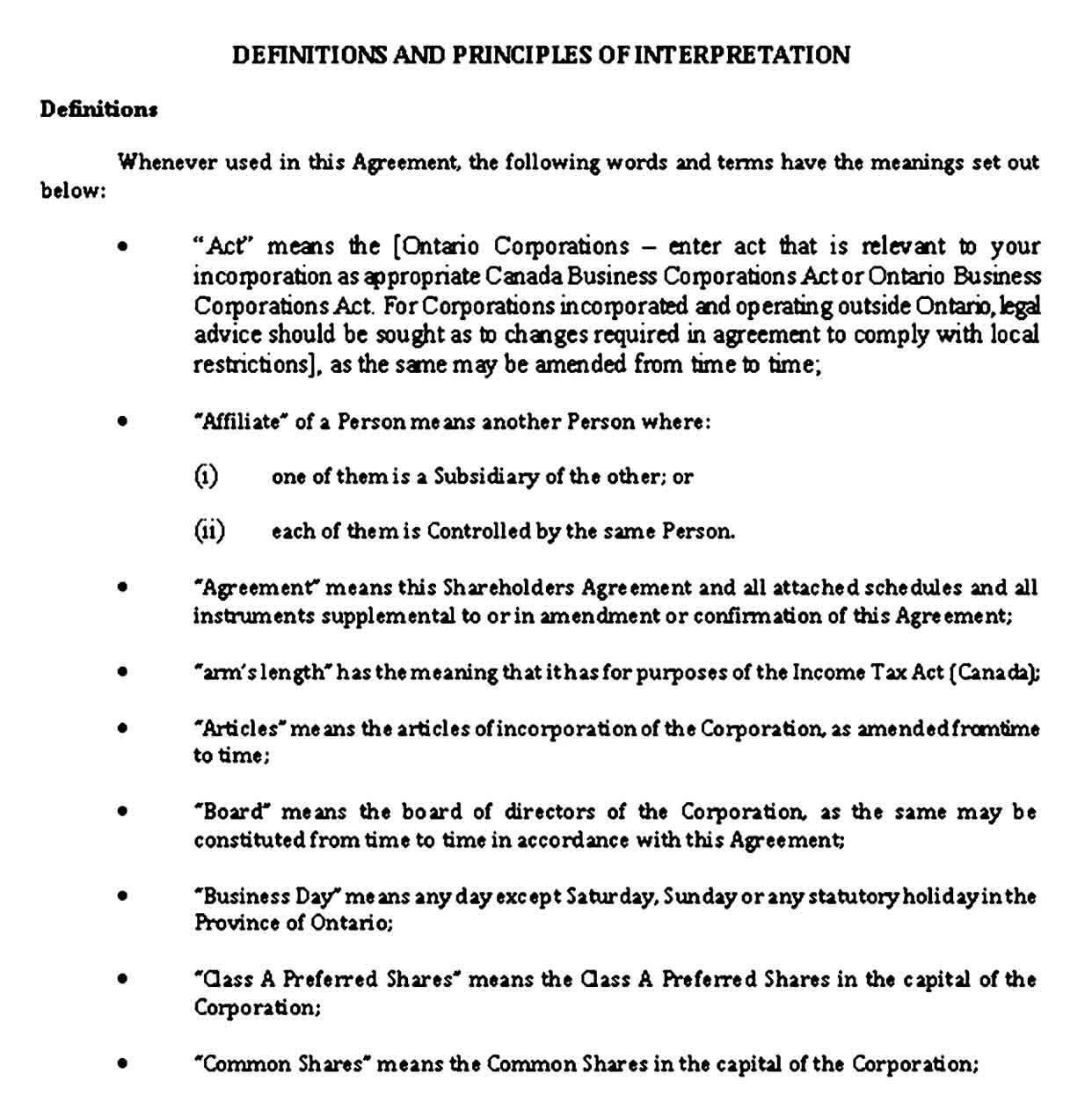 Shareholder Agreement Sample Template Business Template Writing Practice Agreement S corp shareholder agreement template