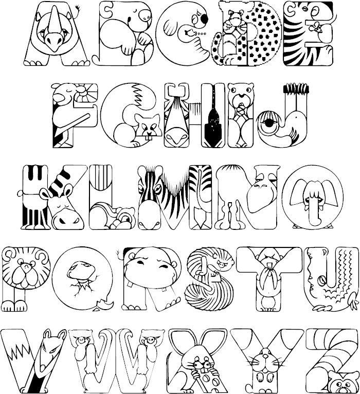 Crazy zoo animals coloring printable full alphabet for Free zoo animal coloring pages