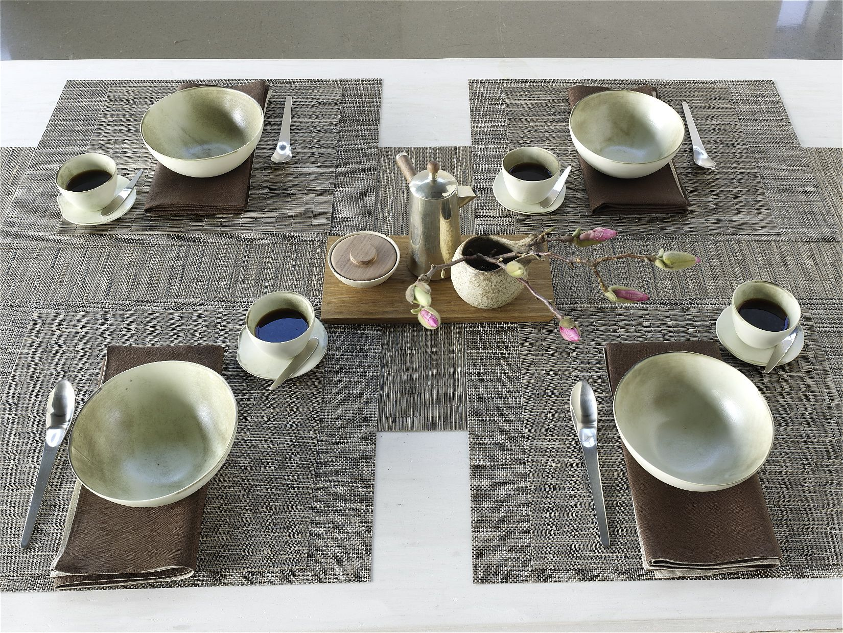 Triple Layers For Fall Square Bamboo Placemat On Top Of A Rectangular Mini Basketweave Placemat In S Entertaining Table Settings Chilewich Entertainment Table