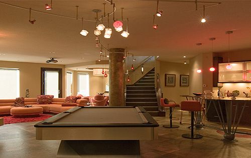 Like The Flow Here And Nifty Track Lighting Over Pool Table