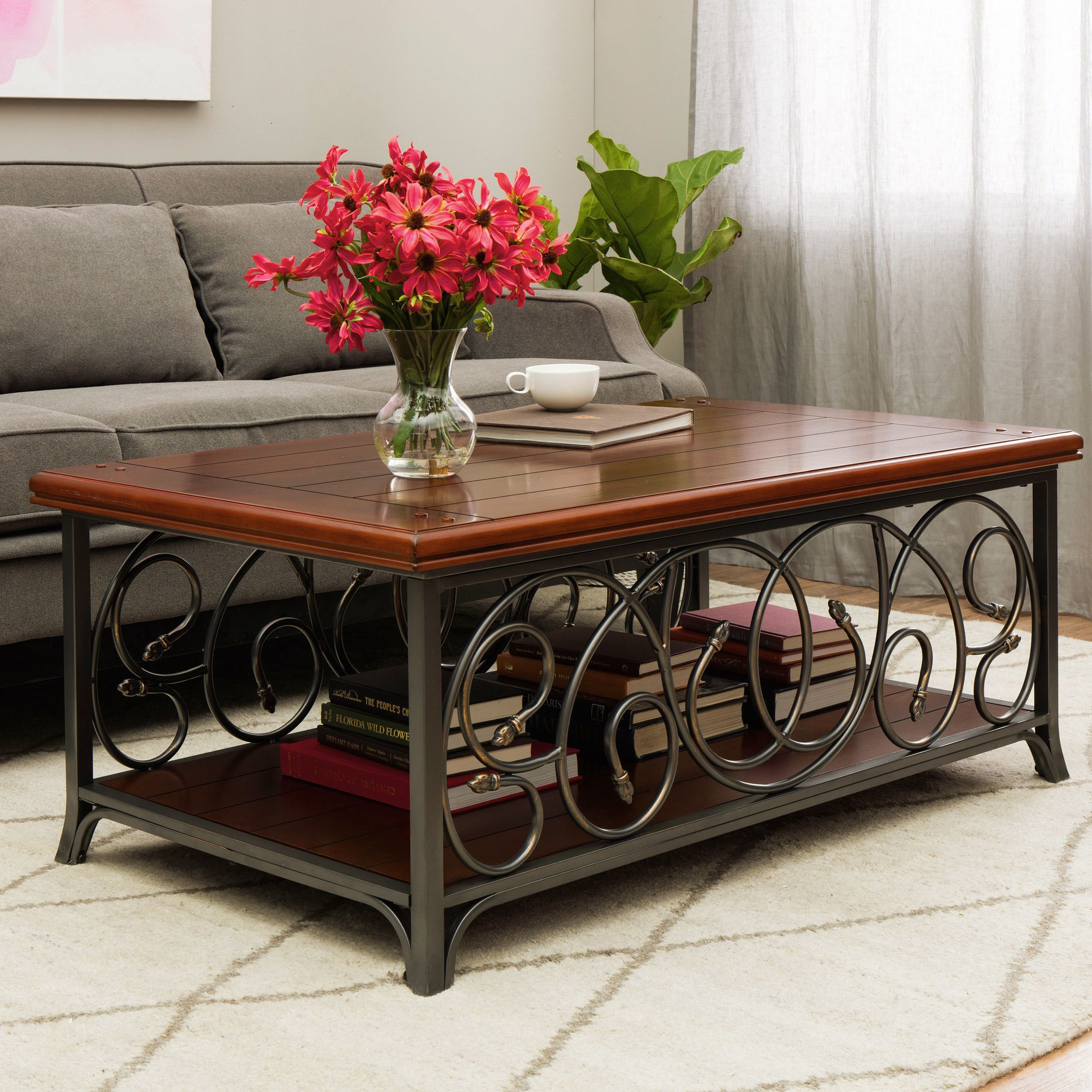 Copper Grove Scrolled Metal And Wood Coffee Table
