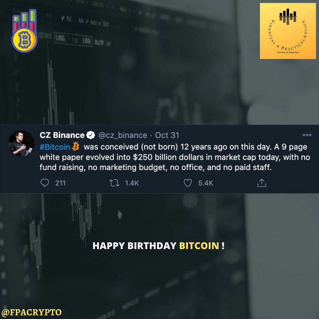 Happy Birthday Bitcoin Bitcoin White Paper Was Released 12 Years Ago Satoshi Naka Marketing Budget Blockchain Technology Financial Institutions