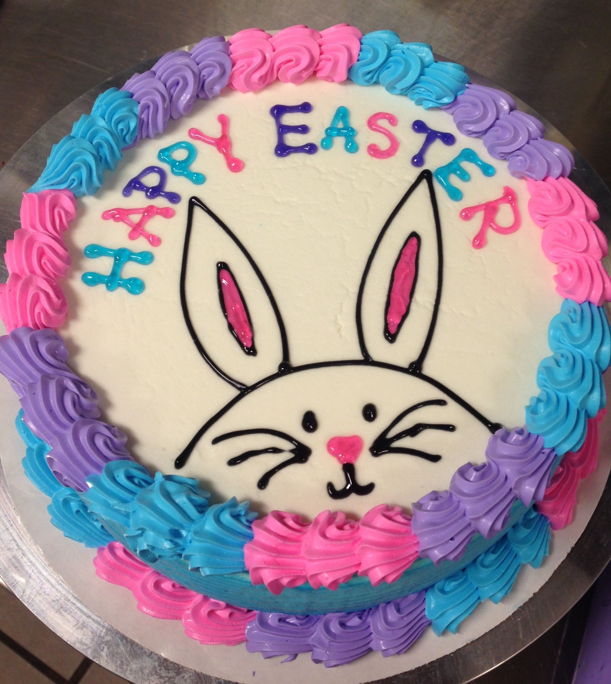 Simple Bunny Cake But Use Pastel Colors Maybe Outline Bunny In Chocolate So It S Brown Rather Than Blac Easter Cake Decorating Bunny Cake Easter Cake Designs