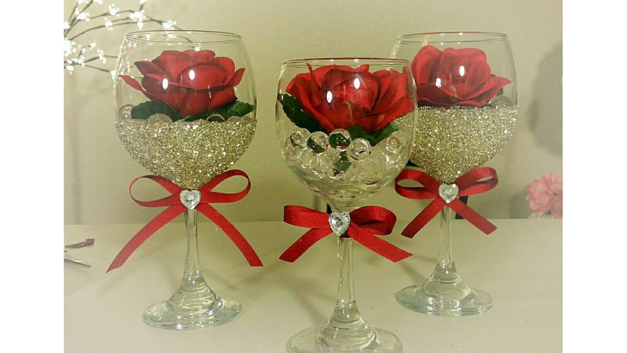 Diy dollar tree wine and rose glass decor hand for Wine glass decorations for weddings