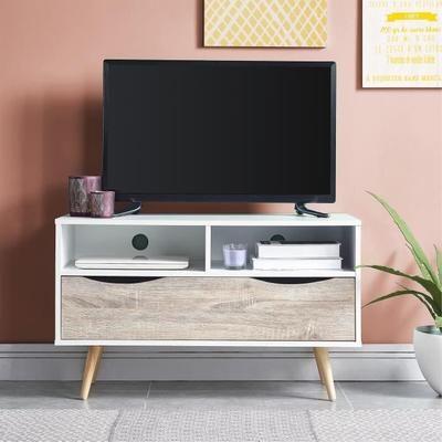 BELA Meuble TV scandinave blanc et décor chêne mat + pieds en bois
