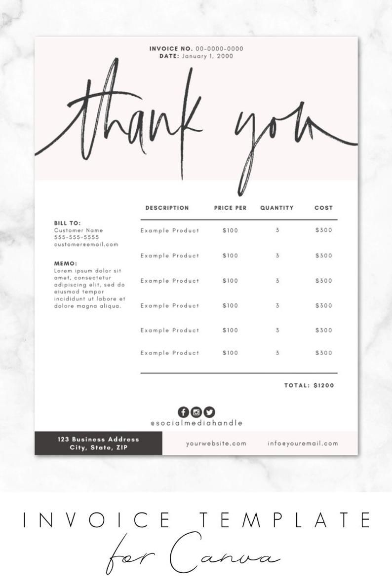 Invoice Template For Canva Invoice Design Order Form Printable Diy Customizable Editable Instant Download Branding Business Inv02 Invoice Design Invoice Design Template Invoice Template