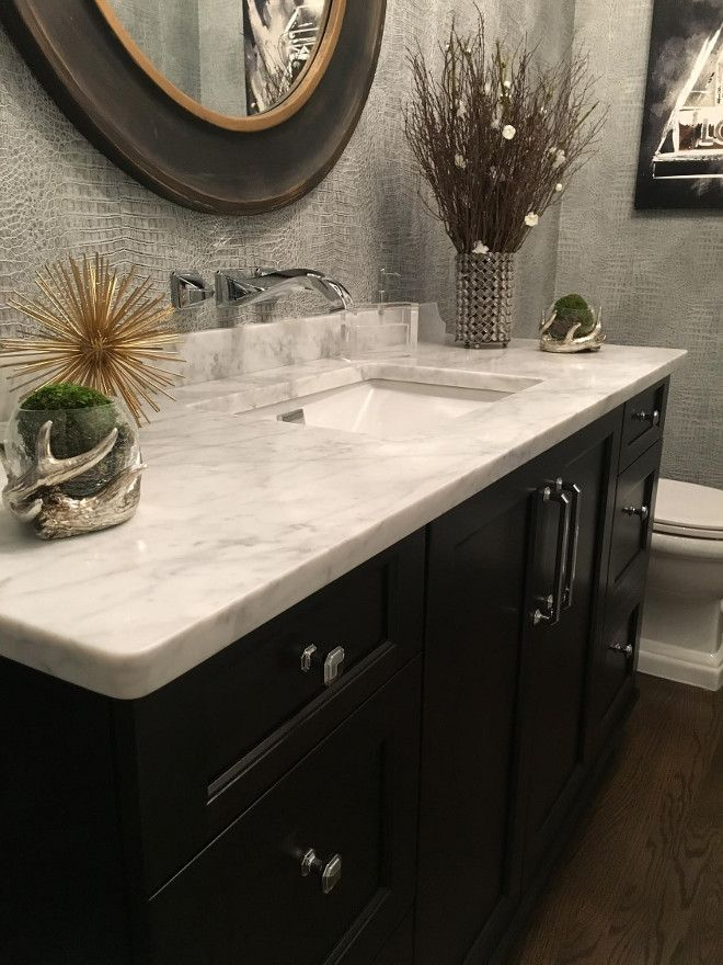 Powder Room Dark Cabinet And Honed Marble Countertop Is Carrara From Ms International Inc Sink Toto