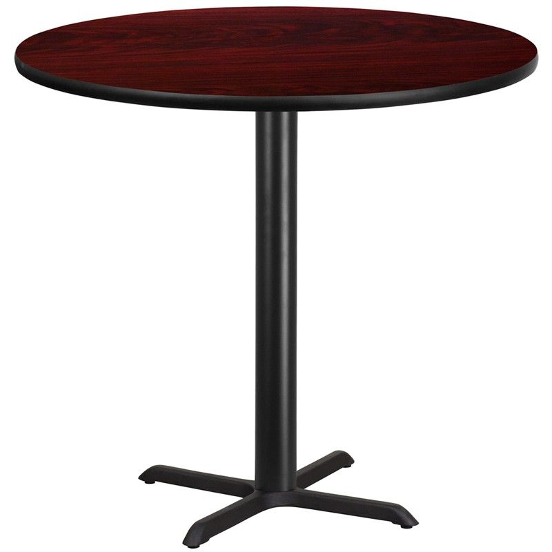 Bon 42u0027u0027 Round Laminate Table Top With 33u0027u0027 X 33u0027u0027 Bar Height Table Base