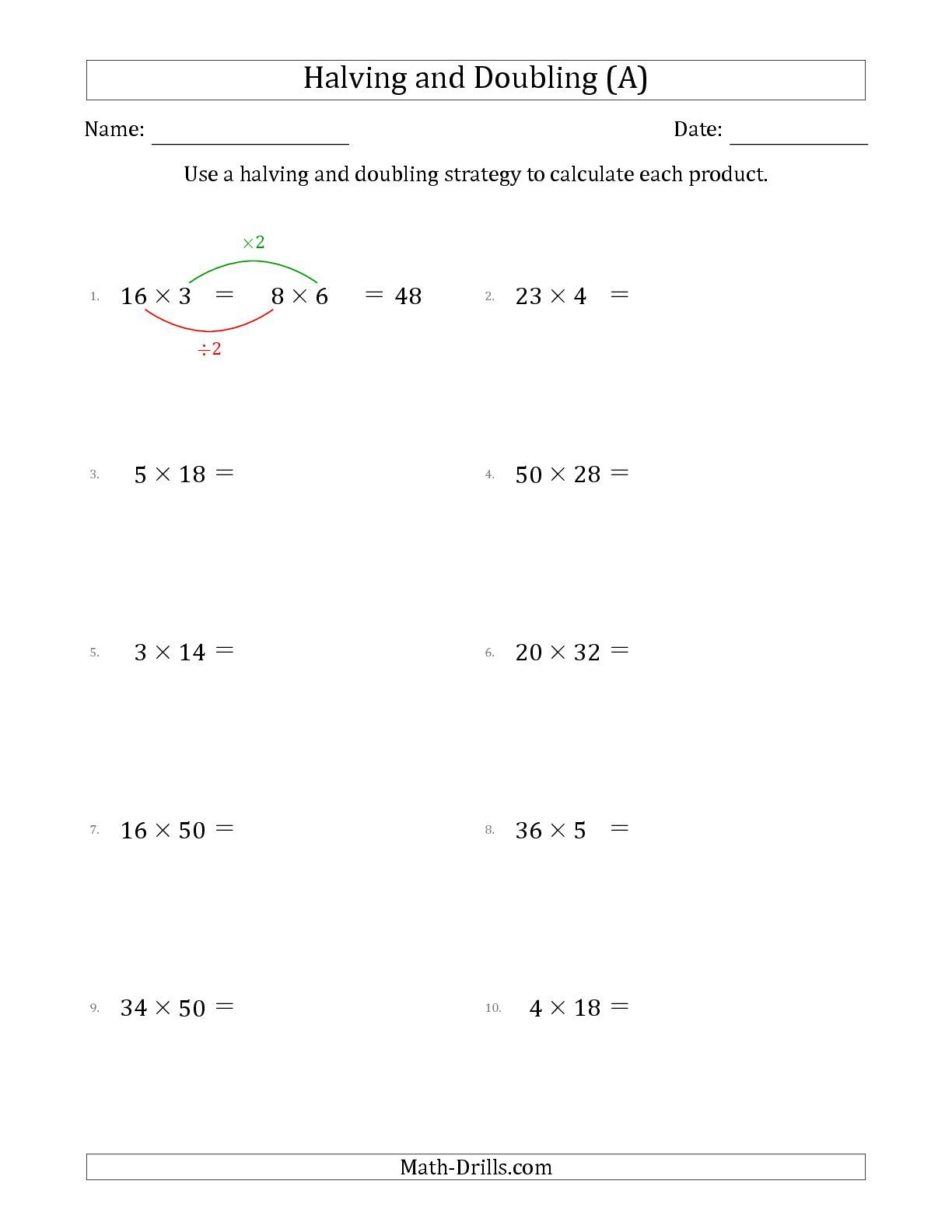 The Halving And Doubling Strategy With Easier Questions (a) Math Multiplication By 5 The Halving And Doubling Strategy With Easier Questions (a)