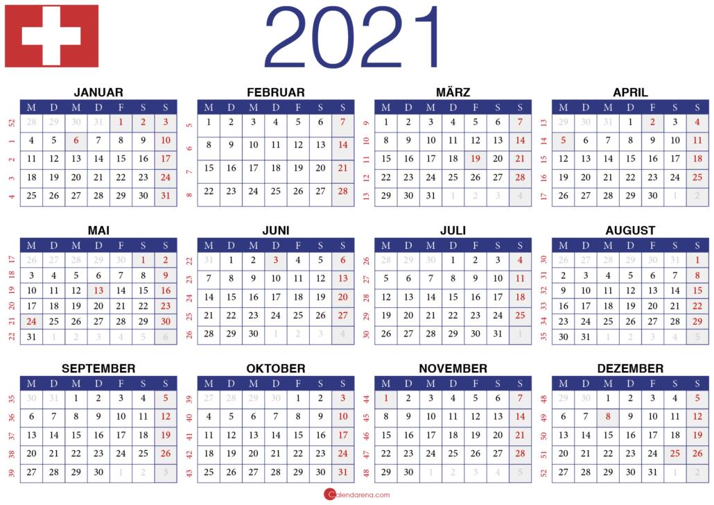 Jahreskalender 2021 Schweiz Jahres Kalender Jahreskalender Kalender