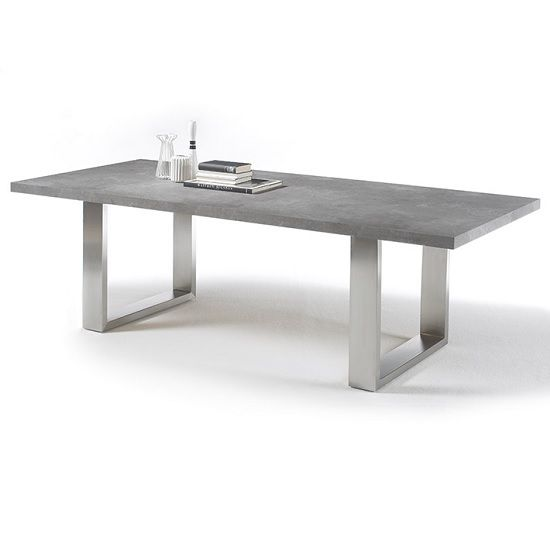 Savona Extra Large Rectangular Dining Table In Grey With Stainless Steel Legs Well Suitable For You Grey Dining Tables Large Dining Table Concrete Dining Table