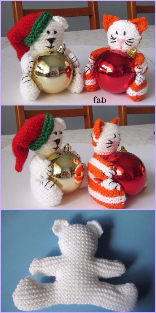 Knit Christmas Bear & Cat Bauble Ornament Free Patterns | Fieltro ...