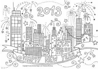 New Years Eve Printable Coloring Activity Sheets New Year Coloring Pages Detailed Coloring Pages Coloring Pages